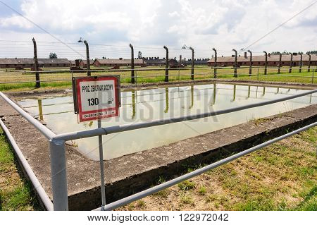 Auschwitz II - Birkenau one of many water reservoirs that existed in case of fire