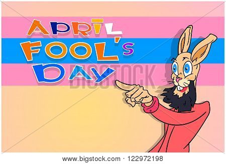 Bearded Rabbit Point Finger At Fool Day April Holiday Greeting Card Banner Vector Illustration