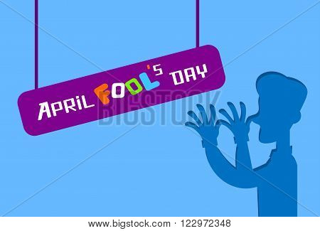 Silhouette Man Grimace, Fool Day April Holiday Greeting Card Banner Flat Vector Illustration