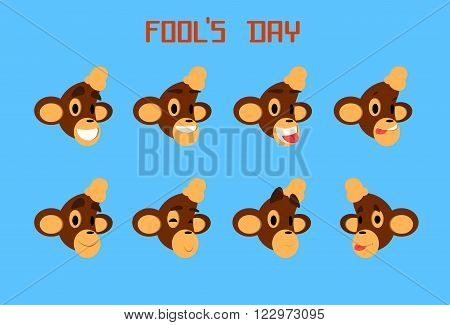 Monkey Face Set Emotion Fool Day April Holiday Collection Flat Vector Illustration