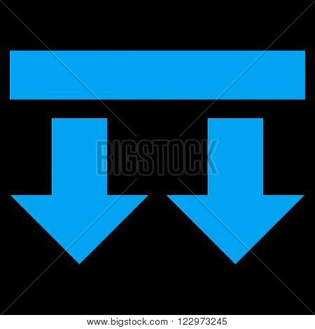 Bring Down vector icon. Style is flat icon symbol, blue color, black background.