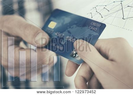 Finance concept. Hands holding a credit card