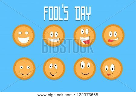 Smile Cracker Cookies Cartoon Faces Set Fool Day April Holiday Collection Flat Vector Illustration