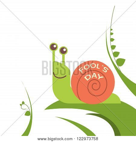 Snail Smile On Green Leaf Fool Day April Holiday Vector Illustration