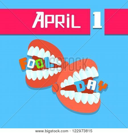 Jaw Teeth, Fool Day April Holiday Greeting Card Banner Vector Illustration