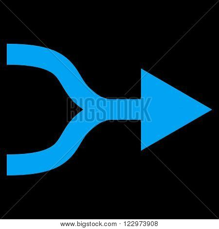 Combine Arrow Right vector icon. Style is flat icon symbol, blue color, black background.