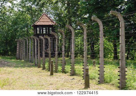 Auschwitz II - Birkenau watch tower at the south-east corner of Crematorium II