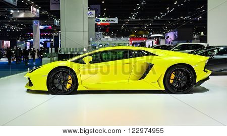 NONTHABURI - MARCH 22: Lamborghini Aventador LP 700-4 on display at The 37th Bangkok International Thailand Motor Show 2016 on March 22 2016 Nonthaburi Thailand.