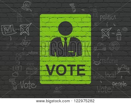 Politics concept: Ballot on wall background