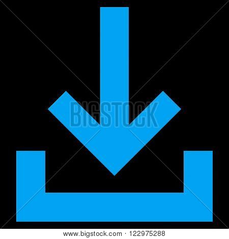Inbox vector icon. Style is flat icon symbol, blue color, black background.