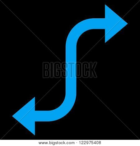 Opposite Bend Arrow vector icon. Style is flat icon symbol, blue color, black background.