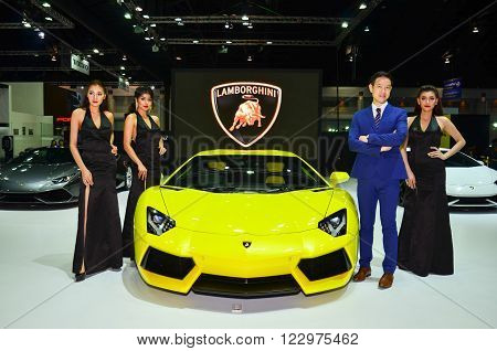 NONTHABURI - MARCH 22: Lamborghini with Unidentified model on display at The 37th Bangkok International Thailand Motor Show 2016 on March 22 2016 Nonthaburi Thailand.