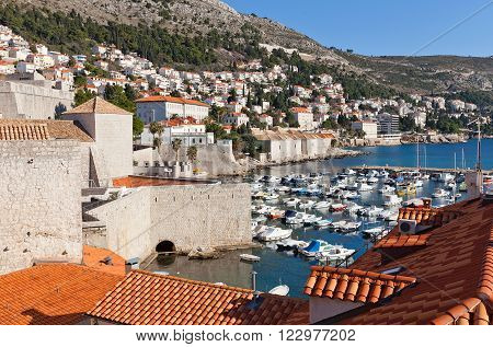 DUBROVNIK CROATIA - JANUARY 20 2016: View of Old Port in Old Town of Dubrovnik Croatia. World Heritage Site of UNESCO