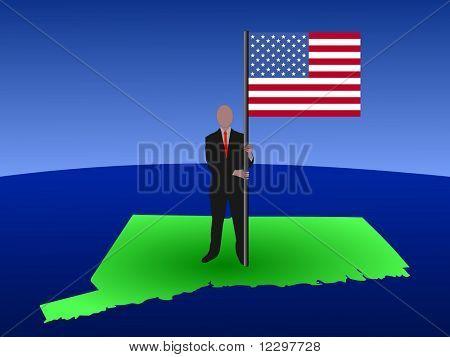 hombre de negocios permanente mapa de Connecticut con bandera