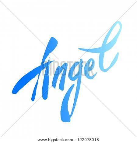 Inscription - Angel. Handwritten lettering angel on a white background. Vector illustration.
