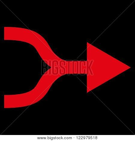 Combine Arrow Right vector icon. Style is flat icon symbol, red color, black background.
