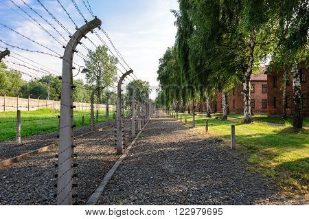 Auschwitz I - Birkenau south east perimeter of the concentration camp
