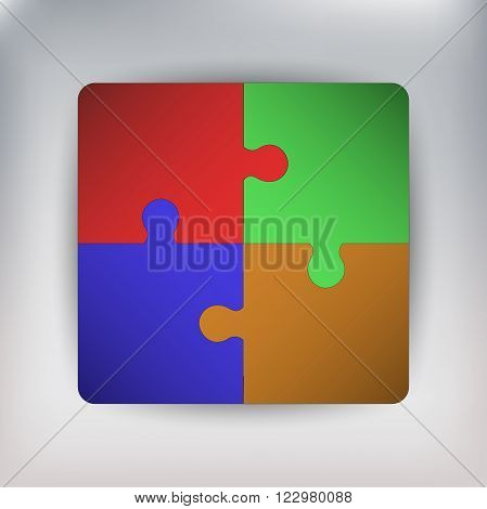 Four pieces of connected jigsaw, four pieces of connected puzzle, puzzle connected to square, jigsaw connected to square