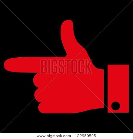 Hand Pointer Left vector icon. Style is flat icon symbol, red color, black background.