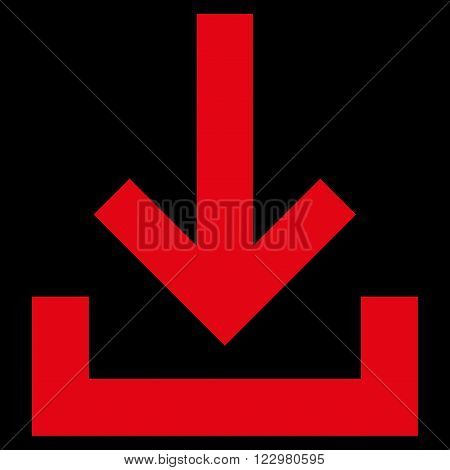 Inbox vector icon. Style is flat icon symbol, red color, black background.