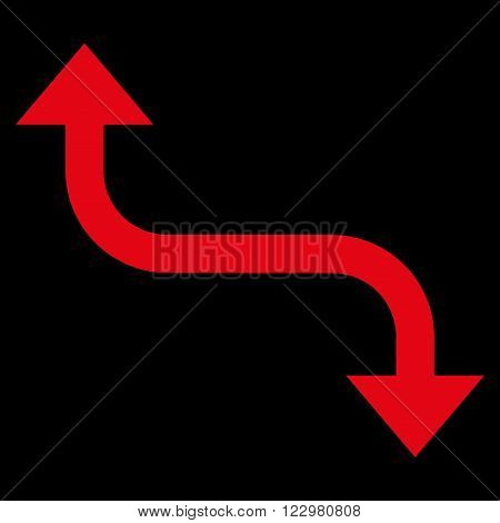 Opposite Bend Arrow vector icon. Style is flat icon symbol, red color, black background.