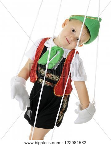An adorable preschool puppet flopping against his strings.  On a white background.