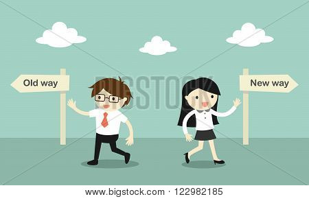 Business concept, Businessman walk to the old way, but business woman walk to the new way. Vector illustration.