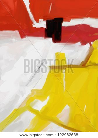 Large White, Yellow and Red Abstract digital painting.