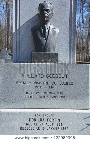 FRELIGHSBURG QUEBEC CANADA MARCH 20 2016: Grave of Joseph-Adelard Godbout was an agronomist and politician in the Canadian province of Quebec. He served as the 15th Premier of Quebec.