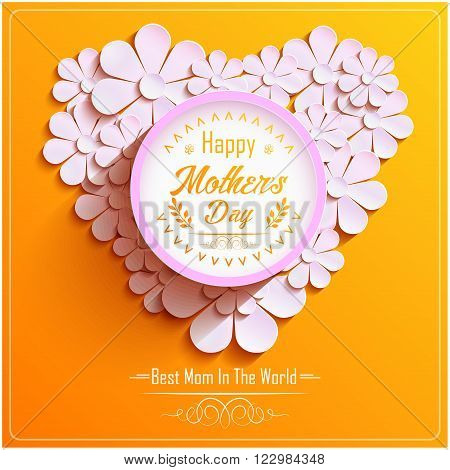 Illustration of Happy Mothers Day with beautiful Bright round frame with pink 3d flowers chamomile