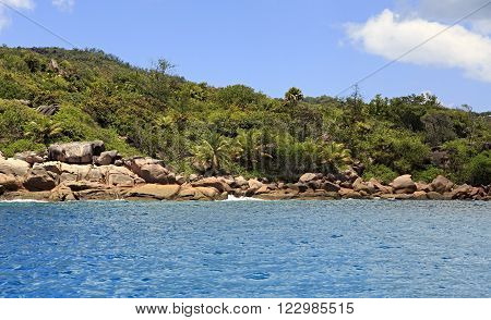 Beautiful Huge granite boulders on Praslin Island in the Indian Ocean.