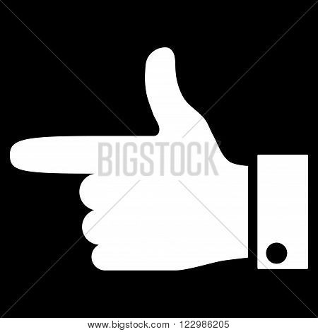 Hand Pointer Left vector icon. Style is flat icon symbol, white color, black background.