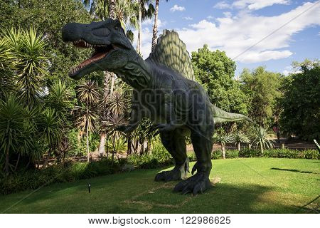 PERTH, WA / AUSTRALIA - MARCH 13: Roaring Spinosaurus display model in Perth Zoo as part of Zoorassic exhibition in March 2016