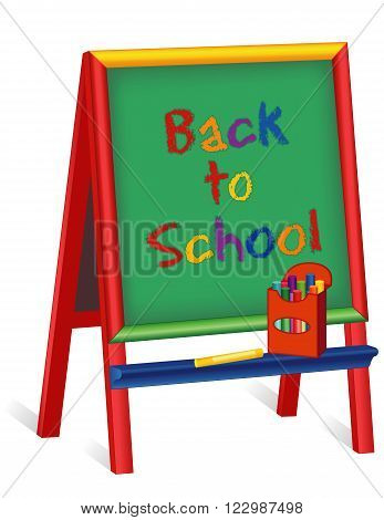 Back to School text on green chalkboard wood easel for children, box of multi color chalk, isolated on white background, for preschool, daycare, nursery school, kindergarten.
