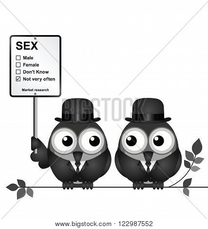 Monochrome comical Market Research with not very often sex sign with bird businessmen perched on a branch isolated on white background