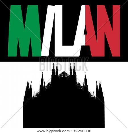 silhouette of Duomo Milan with Milan flag text illustration