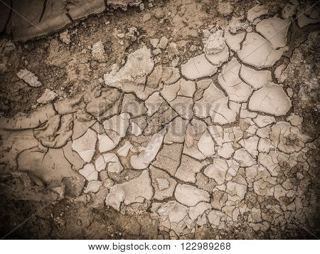 Dry soil texture on the ground as background