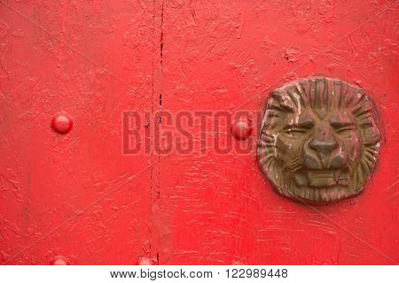 door knocker of  typical chinese palace gate with copy space