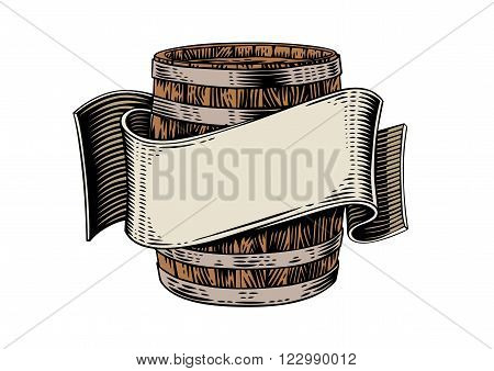 Drawing of beer wooden barrel and beige ribbon on the white
