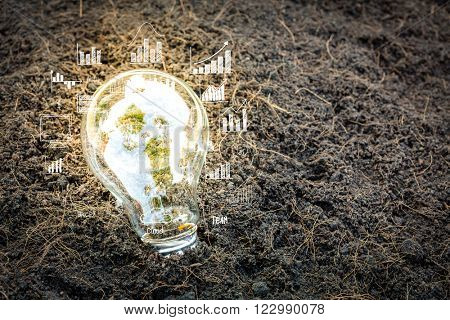 Bulb with business graph
