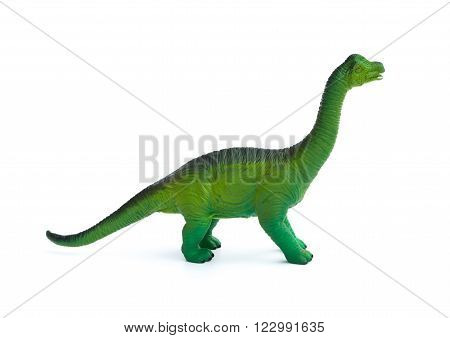 side view green brachiosaurus toy on a white background