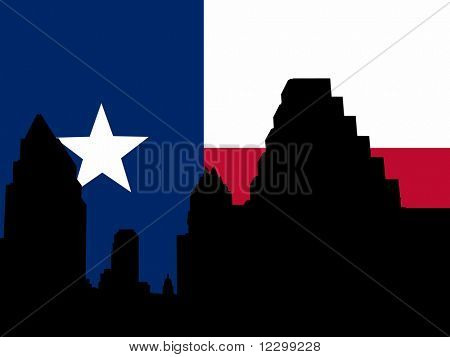Austin Skyline with Texan flag illustration JPG