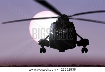 Helicopter flying in a desert with sunlight background