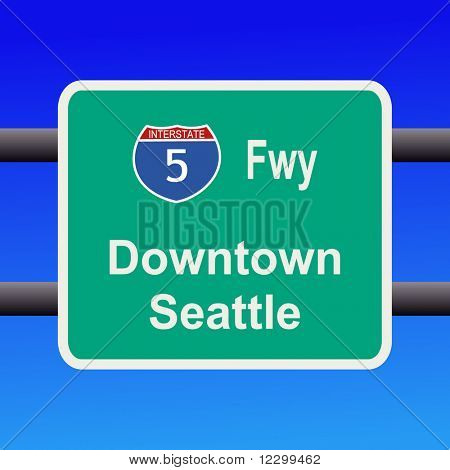 Interstate 5 to Seattle sign illustration