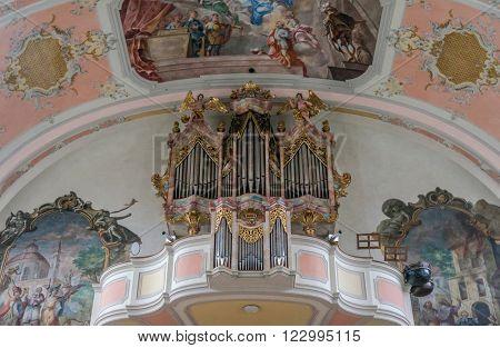 Garmisch-Partenkirchen, Germany - March 12, 2016: Benedictine cloister Ettal interior of the catholic church