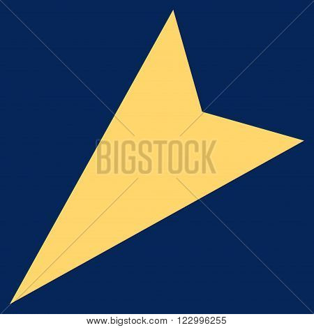 Arrowhead Left-Down vector pictogram. Image style is flat arrowhead left-down iconic symbol drawn with yellow color on a blue background.