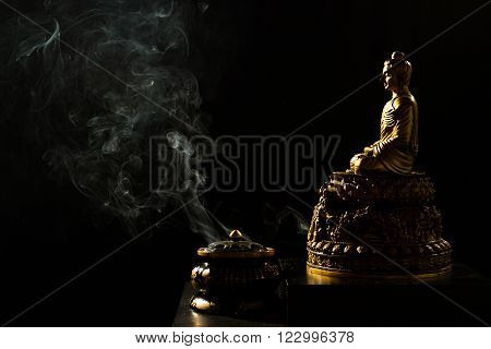 Sitting Bronze Budda With Incense Burner