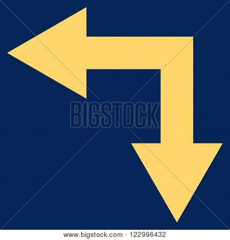 Bifurcation Arrow Left Down vector pictogram. Image style is flat bifurcation arrow left down iconic symbol drawn with yellow color on a blue background.