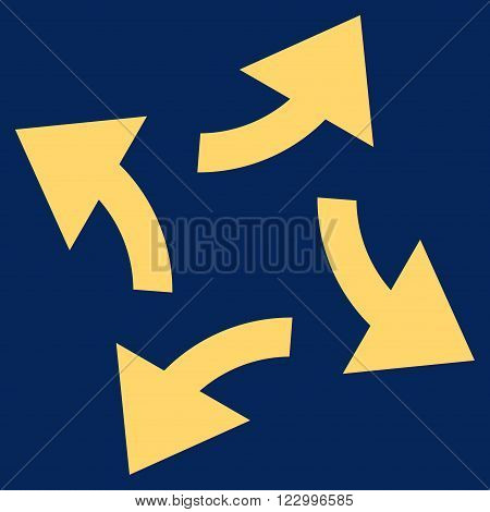 Centrifugal Arrows vector pictogram. Image style is flat centrifugal arrows icon symbol drawn with yellow color on a blue background.