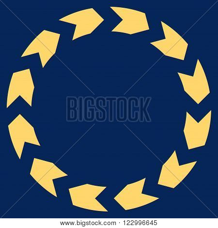 Circulation vector pictogram. Image style is flat circulation iconic symbol drawn with yellow color on a blue background.